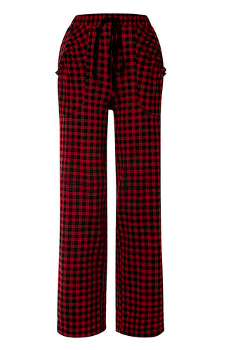 front_Wanted Red And Black Plaid Pants