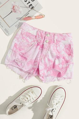 back_Delia Gimik Pink Tie Dye Denim Shorts