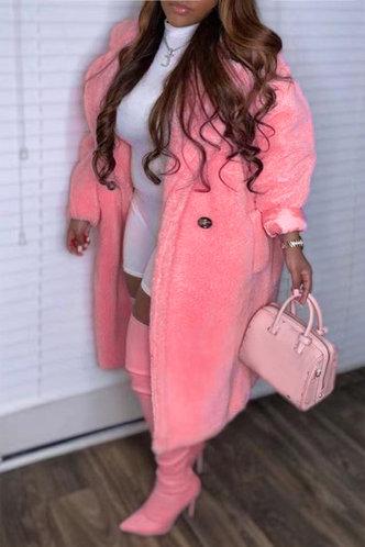 back_Shirt Collar Plain Pink Plus Size Outerwear