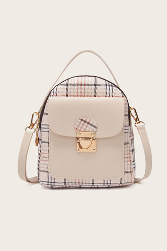 front_Helen Marist Beige And Plaid Bagpack