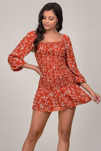 front_The Heart Of Angel Red Floral Print Mini Dress
