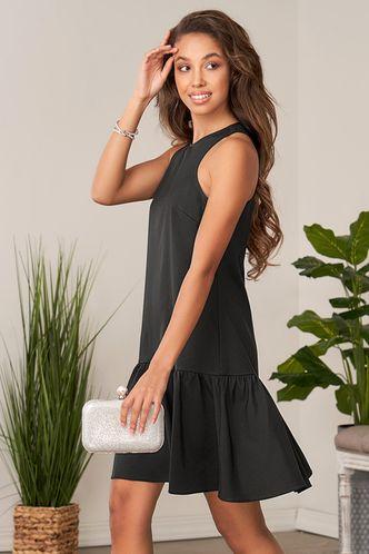 front_Waves of Hope Black Mini Dress