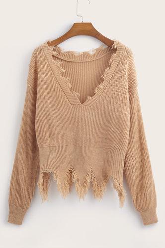 back_V Neck Dropped Shoulder Khaki Sweaters