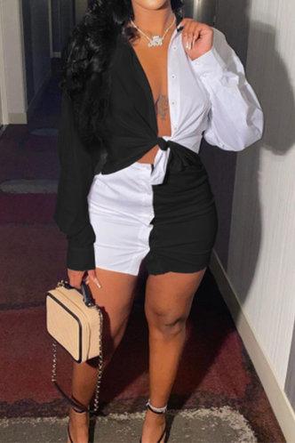 back_Gwendolyn Evangeline Black And White Plus Size Skirt Set