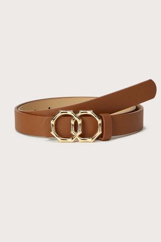 front_Edwina Elaine Camel  Double Ring Decor Belt