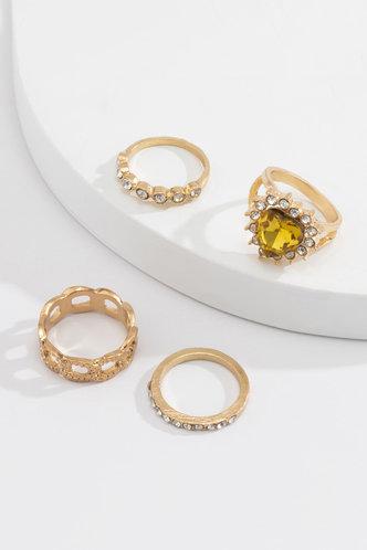 back_Miranda Ella Gold Rhinestone Charm Ring 4pcs