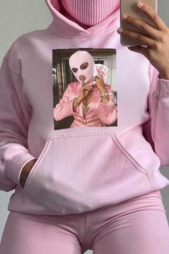 back_Tess Ethel Pink Drawstring Pocket Hoodie