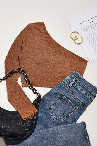 front_Secret Keeper Brown One Shouler Crop Top