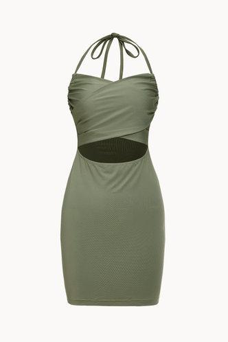 back_Vacation Party Knee Length Sleeveless Halter Green Plain Dresses