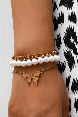 front_Mignon Eleanore Gold Faux Pearls Bracelet 3pcd