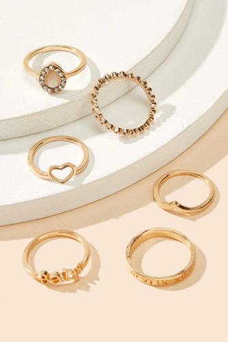back_Annabella Elma Gold Rhinestone Charm Ring 6pcs