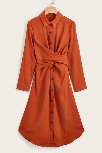 front_Martha Eileen Rust Red Dress