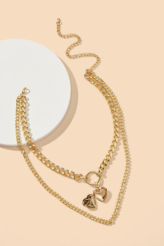 back_Lynn Edwina Gold Heart Layered Chain Necklace