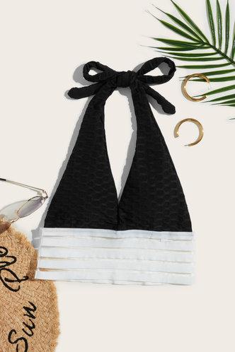 back_Kama Elizabeth Black And Striped Bikini Top