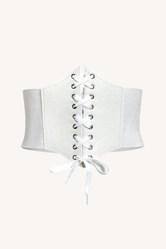 front_Madeline Elaine White Lace Up Front Belt
