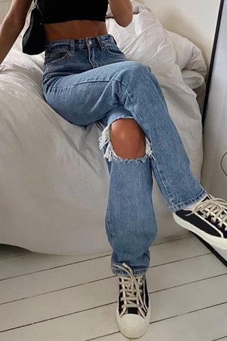 back_Olympia Elaine Blue Ripped Knee Jeans