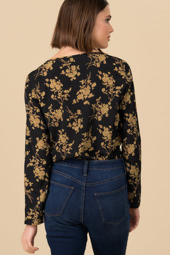 back_Fall Floral Black Floral Print Top