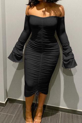 front_Long Off the Shoulder Black Plain Dress