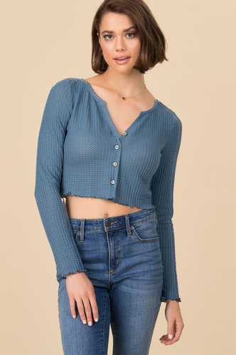 back_On Point Blue Thermal Crop Top