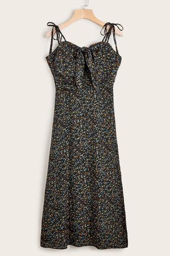 front_Vargas Black Floral Print Dress