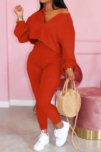front_Zipper Up Red Pants Sets