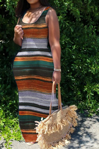 front_Daily Sleeveless Scoop Neck Striped All over print Dresses