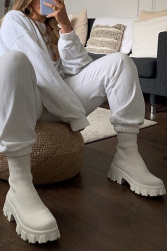 back_Round Toe White Boots