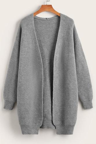 front_Bima Grey Drop Shoulder Cardigan