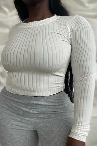 front_Solid Color Crew Neck White Plus Size Tees