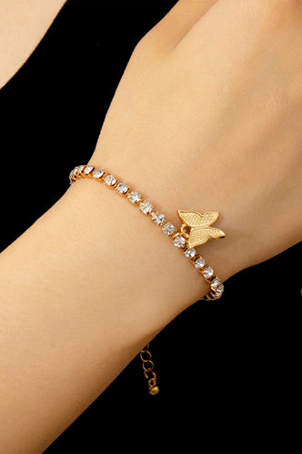 front_Mamie Elaine Gold Butterfly Charm Bracelet