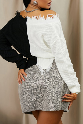 back_V Neck Color Block Dropped Shoulder Black And White Sweater