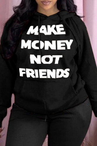 front_Street Oversized Black Plus Size Sweatshirts & Hoodies