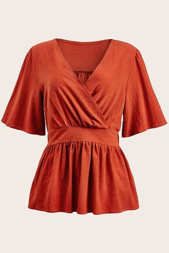 front_Short Sleeve Regular Sleeve Burnt Orange Blouses