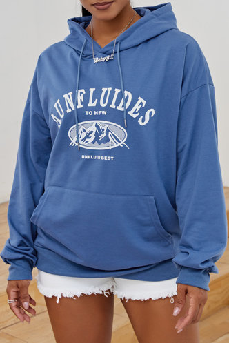 back_Hooded Collar Letter Print Blue Sweatshirts & Hoodies