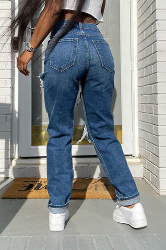 back_High Waist Pocket Wash Blue Women Jeans
