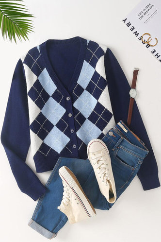 front_Golden Gate Navy Blue Argyle Button Through Cardigan