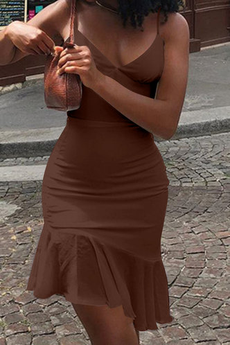 back_Buena Ella Brown Flounce Hem Slip Dress