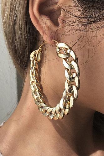back_Helen Eleanore Gold Chain Hoop Earrings 1pair
