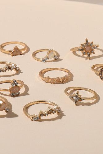 back_Muriel Eleanore Gold Rhinstone Charm Ring 10pcs