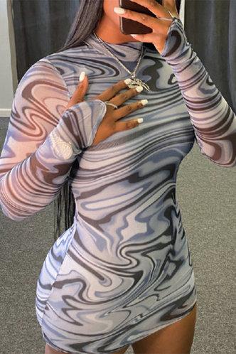 front_Caroline Irlan Marble Print Bodycon Dress