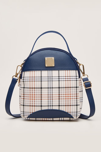 front_Thelma Emily Navy Blue And Plaid Bagpack