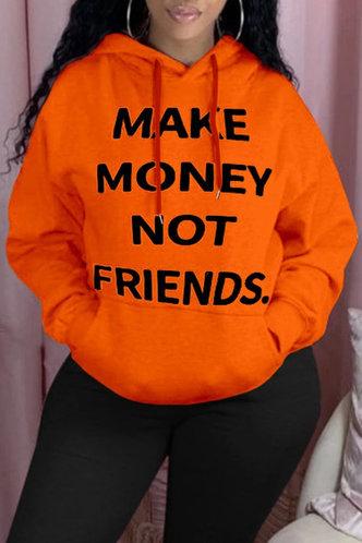 front_Casual Hoodie Letter Letter Orange Sweatshirts & Hoodies