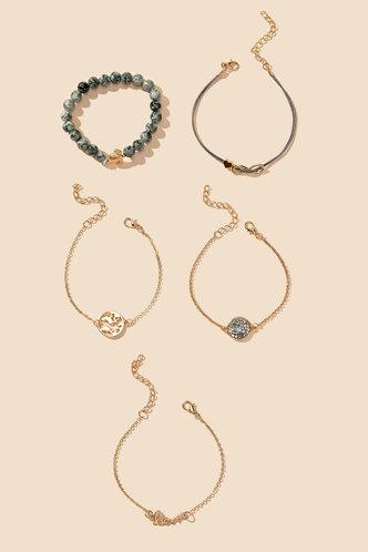 back_Thera Elaine Gold Letter & Earth Bracelet Set 5pcs