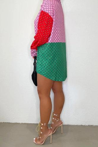 back_Lapel Neck Long Sleeve Regular Sleeve Colorblock Blouses