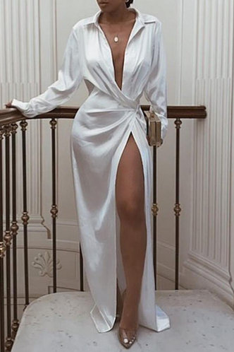 front_Emily Esther White Plunging Neck Dress
