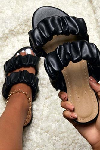 front_Isadora Emma Black Ruched Slide Sandals