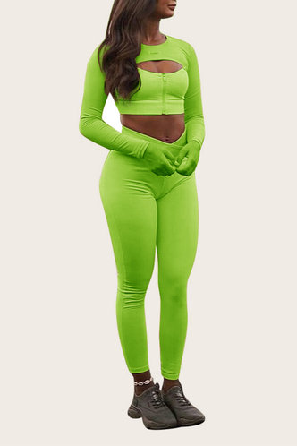 front_Hollow Out High Waist Bodycon Lime Green Activewear Sets