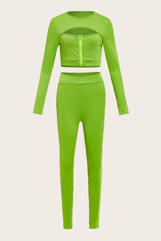 back_Hollow Out High Waist Bodycon Lime Green Activewear Sets