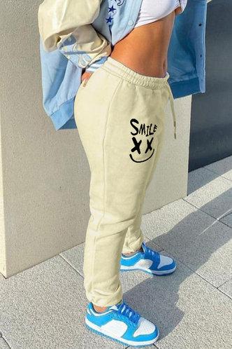 back_Mid Waist Graphic Beige Pants