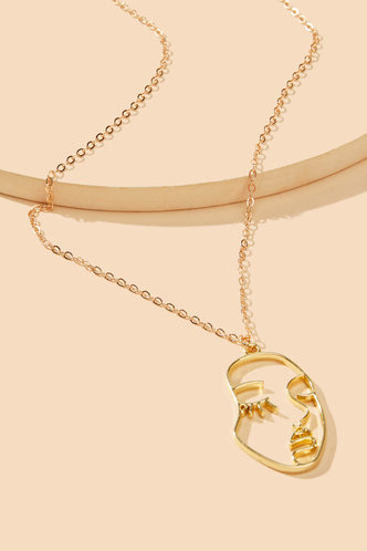 front_Annie Elsie Gold Face Pendant Necklace